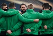 29 November 2020; Ireland head coach Andy Farrell speaks to his players ahead of the Autumn Nations Cup match between Ireland and Georgia at the Aviva Stadium in Dublin. Photo by Ramsey Cardy/Sportsfile