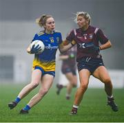 29 November 2020; Laura Fleming of Roscommon in action against Lorraine Duncan of Westmeath during the TG4 All-Ireland Intermediate Ladies Football Championship Semi-Final match between Roscommon and Westmeath at Glennon Brothers Pearse Park in Longford. Photo by Sam Barnes/Sportsfile