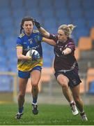 29 November 2020; Natalie McHugh of Roscommon in action against Fiona Claffey of Westmeath during the TG4 All-Ireland Intermediate Ladies Football Championship Semi-Final match between Roscommon and Westmeath at Glennon Brothers Pearse Park in Longford. Photo by Sam Barnes/Sportsfile