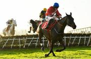 29 November 2020; Ballyadam, with Jack Kennedy up, clears the last on their way to winning the BARONERACING.COM Royal Bond Novice Hurdle on day two of the Fairyhouse Winter Festival at Fairyhouse Racecourse in Ratoath, Meath. Photo by Seb Daly/Sportsfile