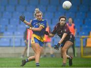 29 November 2020; Sinéad Glennon of Roscommon shoots wide of the goal under pressure from Lucy Power of Westmeath during the TG4 All-Ireland Intermediate Ladies Football Championship Semi-Final match between Roscommon and Westmeath at Glennon Brothers Pearse Park in Longford. Photo by Sam Barnes/Sportsfile