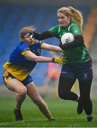 29 November 2020; Lauren McCormack of Westmeath in action against Aoife Gavin of Roscommon during the TG4 All-Ireland Intermediate Ladies Football Championship Semi-Final match between Roscommon and Westmeath at Glennon Brothers Pearse Park in Longford. Photo by Sam Barnes/Sportsfile