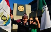 29 November 2020; Husband and wife supporters on opposite sides, Olivia and Rory Colohan, originally from Castletroy, Limerick, and Ballinasloe, Galway, pose for a picture outside Croke Park in advance of the GAA Hurling All-Ireland Senior Championship Semi-Final match between Limerick and Galway at Croke Park in Dublin. No spectators are permitted inside the grounds during the COVID-19 pandemic.  Photo by Ray McManus/Sportsfile