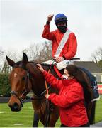 29 November 2020; Jockey Jack Kennedy celebrates as he enters the winners enclosure after riding Envoi Allen to victory in the BARONERACING.COM Drinmore Novice Steeplechase on day two of the Fairyhouse Winter Festival at Fairyhouse Racecourse in Ratoath, Meath. Photo by Seb Daly/Sportsfile