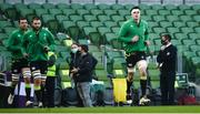 29 November 2020; Ireland captain James Ryan leads out his side prior to the Autumn Nations Cup match between Ireland and Georgia at the Aviva Stadium in Dublin. Photo by David Fitzgerald/Sportsfile