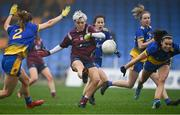 29 November 2020; Leona Archibold of Westmeath gets her shot away under pressure from Honor Ennis, left, and Sinéad Kenny of Roscommon during the TG4 All-Ireland Intermediate Ladies Football Championship Semi-Final match between Roscommon and Westmeath at Glennon Brothers Pearse Park in Longford. Photo by Sam Barnes/Sportsfile