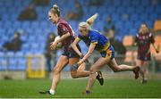 29 November 2020; Jo Hanna Maher of Westmeath in action against Caroline Conway of Roscommon during the TG4 All-Ireland Intermediate Ladies Football Championship Semi-Final match between Roscommon and Westmeath at Glennon Brothers Pearse Park in Longford. Photo by Sam Barnes/Sportsfile