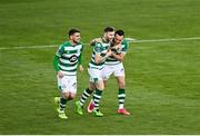 29 November 2020; Aaron McEneff of Shamrock Rovers celebrates with Jack Byrne and Dylan Watts after scoring his side's first goal during the Extra.ie FAI Cup Semi-Final match between Shamrock Rovers and Sligo Rovers at Tallaght Stadium in Dublin. Photo by Harry Murphy/Sportsfile
