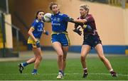 29 November 2020; Kate Nolan of Roscommon in action against Lorraine Duncan of Westmeath during the TG4 All-Ireland Intermediate Ladies Football Championship Semi-Final match between Roscommon and Westmeath at Glennon Brothers Pearse Park in Longford. Photo by Sam Barnes/Sportsfile