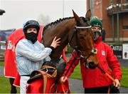 29 November 2020; Jockey Rachael Blackmore and Honeysuckle in the winners enclosure following victory in the BARONERACING.COM Hatton's Grace Hurdle on day two of the Fairyhouse Winter Festival at Fairyhouse Racecourse in Ratoath, Meath. Photo by Seb Daly/Sportsfile