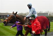 29 November 2020; Jockey Rachael Blackmore enters the winners enclosure after riding Honeysuckle to victory in the BARONERACING.COM Hatton's Grace Hurdle on day two of the Fairyhouse Winter Festival at Fairyhouse Racecourse in Ratoath, Meath. Photo by Seb Daly/Sportsfile