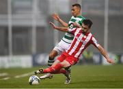 29 November 2020; Graham Burke of Shamrock Rovers in action against John Mahon of Sligo Rovers during the Extra.ie FAI Cup Semi-Final match between Shamrock Rovers and Sligo Rovers at Tallaght Stadium in Dublin. Photo by Harry Murphy/Sportsfile