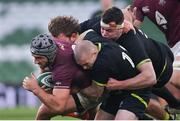 29 November 2020; Beka Gorgadze of Georgia is tackled by Finlay Bealham, left, James Ryan, centre, and Keith Earls of Ireland during the Autumn Nations Cup match between Ireland and Georgia at the Aviva Stadium in Dublin. Photo by Ramsey Cardy/Sportsfile
