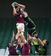 29 November 2020; Beka Saginadze of Georgia wins possession in the lineout against Peter O'Mahony of Ireland during the Autumn Nations Cup match between Ireland and Georgia at the Aviva Stadium in Dublin. Photo by Ramsey Cardy/Sportsfile