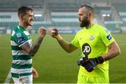 29 November 2020; Alan Mannus, right, and Lee Grace of Shamrock Rovers following the Extra.ie FAI Cup Semi-Final match between Shamrock Rovers and Sligo Rovers at Tallaght Stadium in Dublin. Photo by Stephen McCarthy/Sportsfile