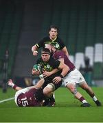 29 November 2020; CJ Stander of Ireland is tackled by Giorgi Chkoidze, right, and Soso Matiashvili of Georgia the Autumn Nations Cup match between Ireland and Georgia at the Aviva Stadium in Dublin. Photo by David Fitzgerald/Sportsfile