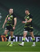 29 November 2020; Jacob Stockdale, left, and Shane Daly of Ireland following the Autumn Nations Cup match between Ireland and Georgia at the Aviva Stadium in Dublin. Photo by David Fitzgerald/Sportsfile