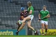 29 November 2020; Declan Hannon of Limerick in action against Johnny Coen of Galway during the GAA Hurling All-Ireland Senior Championship Semi-Final match between Limerick and Galway at Croke Park in Dublin. Photo by Eóin Noonan/Sportsfile