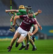 29 November 2020; Cathal Mannion of Galway in action against Declan Hannon and Tom Morrissey of Limerick during the GAA Hurling All-Ireland Senior Championship Semi-Final match between Limerick and Galway at Croke Park in Dublin. Photo by Ray McManus/Sportsfile