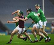 29 November 2020; Cathal Mannion of Galway in action against Declan Hannon, Tom Morrissey and William O'Donoghue of Limerick during the GAA Hurling All-Ireland Senior Championship Semi-Final match between Limerick and Galway at Croke Park in Dublin. Photo by Ray McManus/Sportsfile