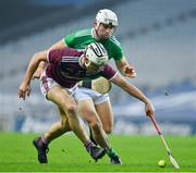 29 November 2020; Daithí Burke of Galway in action against Aaron Gillane of Limerick during the GAA Hurling All-Ireland Senior Championship Semi-Final match between Limerick and Galway at Croke Park in Dublin. Photo by Brendan Moran/Sportsfile