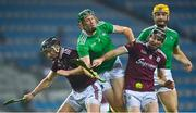 29 November 2020; William O'Donoghue of Limerick is tackled by Aidan Harte, left, and Johnny Coen of Galway during the GAA Hurling All-Ireland Senior Championship Semi-Final match between Limerick and Galway at Croke Park in Dublin. Photo by Eóin Noonan/Sportsfile