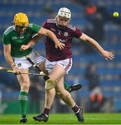 29 November 2020; Seamus Flanagan of Limerick is tackled by Shane Cooney of Galway during the GAA Hurling All-Ireland Senior Championship Semi-Final match between Limerick and Galway at Croke Park in Dublin. Photo by Eóin Noonan/Sportsfile