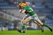 29 November 2020; Seamus Flanagan of Limerick is tackled by Padraic Mannion of Galway during the GAA Hurling All-Ireland Senior Championship Semi-Final match between Limerick and Galway at Croke Park in Dublin. Photo by Eóin Noonan/Sportsfile