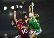 29 November 2020; Limerick full back Dan Morrissey wins possession of the sliotar ahead of his team-mate Kyle Hayes, 7, and Galway players Joe Canning, 10 and Conor Whelan during the GAA Hurling All-Ireland Senior Championship Semi-Final match between Limerick and Galway at Croke Park in Dublin. Photo by Ray McManus/Sportsfile