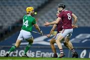 29 November 2020; Seamus Flanagan of Limerick in action against Padraic Mannion and Daithí Burke of Galway during the GAA Hurling All-Ireland Senior Championship Semi-Final match between Limerick and Galway at Croke Park in Dublin. Photo by Brendan Moran/Sportsfile