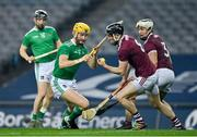 29 November 2020; Padraic Mannion of Galway gathers the sliotar ahead of Seamus Flanagan of Limerick during the GAA Hurling All-Ireland Senior Championship Semi-Final match between Limerick and Galway at Croke Park in Dublin. Photo by Brendan Moran/Sportsfile