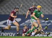 29 November 2020; Seamus Flanagan of Limerick in action against Galway players, Seán Loftus, Padraic Mannion and Aidan Harte during the GAA Hurling All-Ireland Senior Championship Semi-Final match between Limerick and Galway at Croke Park in Dublin. Photo by Brendan Moran/Sportsfile