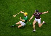 29 November 2020; Seamus Flanagan of Limerick in action against Aidan Harte of Galway during the GAA Hurling All-Ireland Senior Championship Semi-Final match between Limerick and Galway at Croke Park in Dublin. Photo by Daire Brennan/Sportsfile