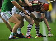 29 November 2020; Conor Whelan of Galway tries to gather the ball near the sideline under pressure from Limerick defenders during the GAA Hurling All-Ireland Senior Championship Semi-Final match between Limerick and Galway at Croke Park in Dublin. Photo by Piaras Ó Mídheach/Sportsfile