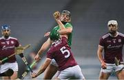 29 November 2020; Fintan Burke of Galway gathers possession ahead of Gearóid Hegarty of Limerick during the GAA Hurling All-Ireland Senior Championship Semi-Final match between Limerick and Galway at Croke Park in Dublin. Photo by Piaras Ó Mídheach/Sportsfile