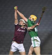 29 November 2020; Daithí Burke of Galway wins possession of the sliotar ahead of Seamus Flanagan of Limerick during the GAA Hurling All-Ireland Senior Championship Semi-Final match between Limerick and Galway at Croke Park in Dublin. Photo by Ray McManus/Sportsfile