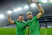 29 November 2020; Dan Morrissey, left, of Limerick with team-mate Kyle Hayes following the GAA Hurling All-Ireland Senior Championship Semi-Final match between Limerick and Galway at Croke Park in Dublin. Photo by Eóin Noonan/Sportsfile
