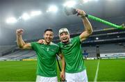 29 November 2020; Dan Morrissey of Limerick with team-mate Kyle Hayes following the GAA Hurling All-Ireland Senior Championship Semi-Final match between Limerick and Galway at Croke Park in Dublin. Photo by Eóin Noonan/Sportsfile