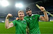 29 November 2020; Cian Lynch, left, of Limerick with team-mate Diarmaid Byrnes following the GAA Hurling All-Ireland Senior Championship Semi-Final match between Limerick and Galway at Croke Park in Dublin. Photo by Eóin Noonan/Sportsfile