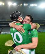 29 November 2020; Seán Finn, right, and Gearóid Hegarty of Limerick celebrate after the GAA Hurling All-Ireland Senior Championship Semi-Final match between Limerick and Galway at Croke Park in Dublin. Photo by Piaras Ó Mídheach/Sportsfile