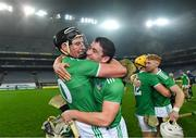 29 November 2020; Gearóid Hegarty, left, and Seán Finn of Limerick celebrate after the GAA Hurling All-Ireland Senior Championship Semi-Final match between Limerick and Galway at Croke Park in Dublin. Photo by Piaras Ó Mídheach/Sportsfile