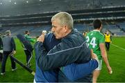 29 November 2020; Limerick manager John Kiely with Nickie Quaid of Limerick following the GAA Hurling All-Ireland Senior Championship Semi-Final match between Limerick and Galway at Croke Park in Dublin. Photo by Eóin Noonan/Sportsfile