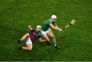 29 November 2020; Aaron Gillane of Limerick in action against Daithí Burke of Galway during the GAA Hurling All-Ireland Senior Championship Semi-Final match between Limerick and Galway at Croke Park in Dublin. Photo by Daire Brennan/Sportsfile