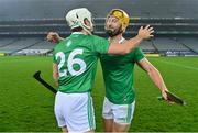 29 November 2020; Pat Ryan, left, and Tom Morrissey of Limerick celebrate after the GAA Hurling All-Ireland Senior Championship Semi-Final match between Limerick and Galway at Croke Park in Dublin. Photo by Brendan Moran/Sportsfile