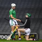 29 November 2020; Galway goalkeeper Éanna Murphy and Pat Ryan of Limerick after the GAA Hurling All-Ireland Senior Championship Semi-Final match between Limerick and Galway at Croke Park in Dublin. Photo by Ray McManus/Sportsfile