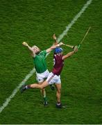 29 November 2020; Cian Lynch of Limerick in action against Johnny Coen of Galway during the GAA Hurling All-Ireland Senior Championship Semi-Final match between Limerick and Galway at Croke Park in Dublin. Photo by Daire Brennan/Sportsfile