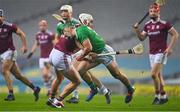 29 November 2020; Sean Finn of Limerick is tackled by Jason Flynn of Galway during the GAA Hurling All-Ireland Senior Championship Semi-Final match between Limerick and Galway at Croke Park in Dublin. Photo by Brendan Moran/Sportsfile
