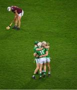 29 November 2020; William O'Donoghue, left, Cian Lynch, and Kyle Hayes of Limerick celebrate, and Daithí Burke of Galway reacts after the GAA Hurling All-Ireland Senior Championship Semi-Final match between Limerick and Galway at Croke Park in Dublin. Photo by Daire Brennan/Sportsfile