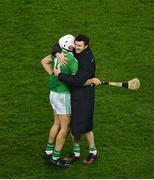 29 November 2020; Aaron Gillane, left, and Declan Hannon of Limerick celebrate after the GAA Hurling All-Ireland Senior Championship Semi-Final match between Limerick and Galway at Croke Park in Dublin. Photo by Daire Brennan/Sportsfile