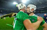29 November 2020; Aaron Gillane of Limerick, right, with team-mate Kyle Hayes following the GAA Hurling All-Ireland Senior Championship Semi-Final match between Limerick and Galway at Croke Park in Dublin. Photo by Eóin Noonan/Sportsfile